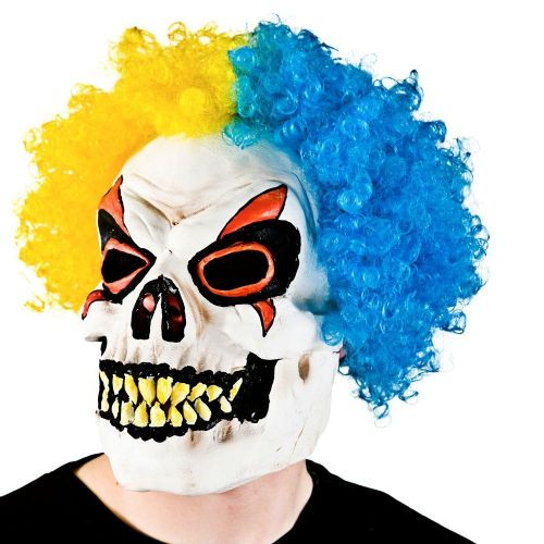 Adult Unisex Skeleton Clown with Hair Hair Masquerade for Disguise Fancy Dress